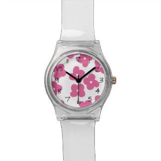 シンプルなピンクの花 腕時計