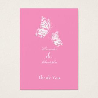 シンプルなピンクの蝶はラベル感謝していしています 名刺
