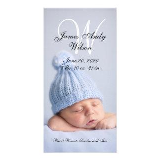 シンプルなベビーの誕生の発表の写真カード カスタム写真カード