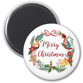 シンプルなメリークリスマスのリース の磁石 マグネット