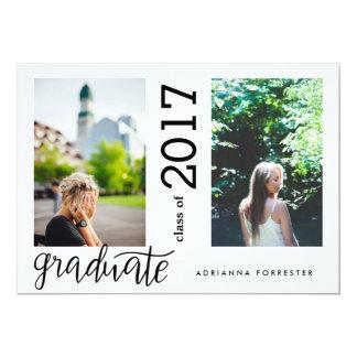 シンプルなモダンの卒業生の手書きの2つの写真 カード