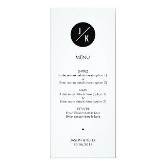 シンプルなモノクロ円の結婚式メニュー 10.2 X 23.5 インビテーションカード