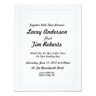 シンプルなモノグラムの結婚式招待状 カード