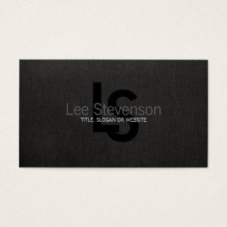 シンプルなモノグラムの黒のリネン一見のプロフェッショナル 名刺