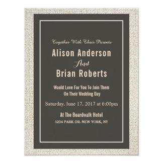 シンプルなリネン結婚式招待状 カード