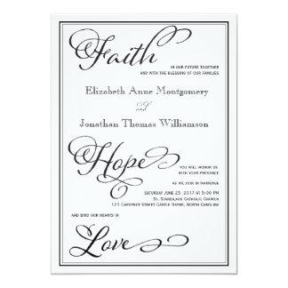 シンプルな信頼の希望愛原稿の結婚式招待状 12.7 X 17.8 インビテーションカード