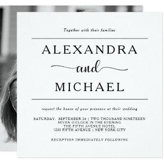 シンプルな優雅 の白黒写真の結婚式 13.3 スクエアインビテーションカード