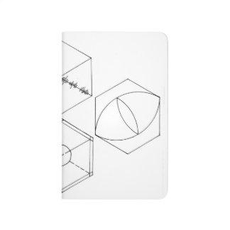シンプルな六角形の小型ジャーナル ポケットジャーナル