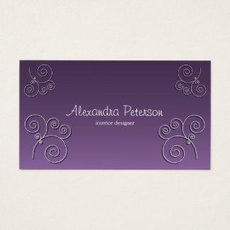 シンプルな円パターン-紫色 名刺