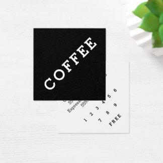 シンプルな単語の暗いロイヤリティのコーヒーパンチカードの角度 スクエア名刺