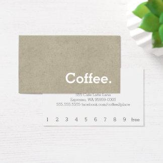 シンプルな単語の暗いロイヤリティのコーヒーパンチカードの骨 名刺
