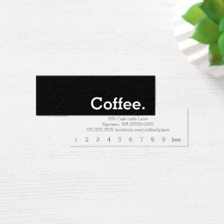 シンプルな単語の暗いロイヤリティのコーヒーパンチカード スキニー名刺