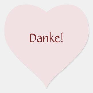 """シンプルな基本的な""""Danke!"""" 文字デザイン ハート型シール"""
