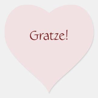 """シンプルな基本的な""""Gratze!"""" 文字デザイン ハートシール"""