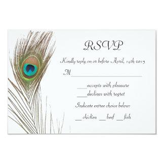 シンプルな孔雀の羽RSVPカード カード