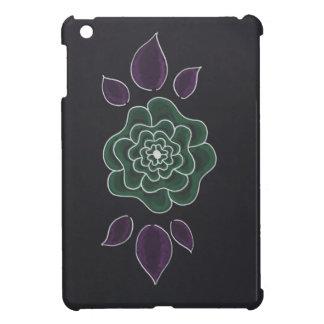 シンプルな手描きの紫色の緑の花 iPad MINIケース