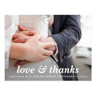シンプルな最小主義の愛および感謝の原稿の写真 葉書き