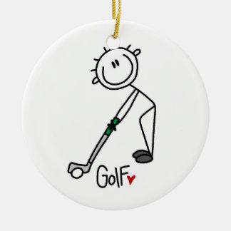 シンプルな棒の姿のゴルファー セラミックオーナメント