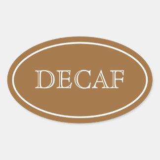シンプルな楕円形のDecafのラベル、ブラウン 楕円形シール