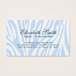 シンプルな淡いブルーのシマウマのモダンな名刺 名刺