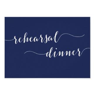 シンプルな濃紺の結婚式のリハーサルの夕食の招待 12.7 X 17.8 インビテーションカード