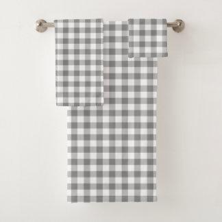 シンプルな灰色および白いギンガム バスタオルセット
