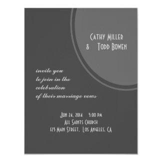 シンプルな灰色の円の結婚式 カード