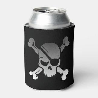 シンプルな灰色の海賊どくろ印 缶クーラー