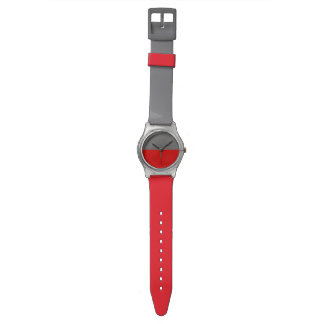 シンプルな灰色の赤い二色 腕時計