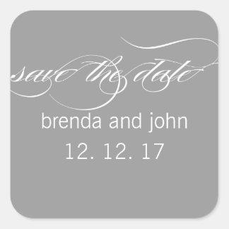 シンプルな灰色白の保存日付の結婚式のステッカー スクエアシール