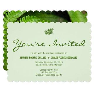 シンプルな熱帯緑のシダの結婚式 カード