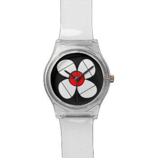 シンプルな白い花 腕時計