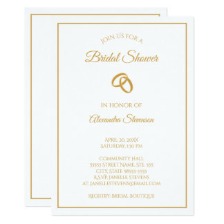 シンプルな白および金ゴールドの結婚指輪のブライダルシャワー カード
