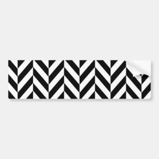 シンプルな白黒のヘリンボンパターン バンパーステッカー