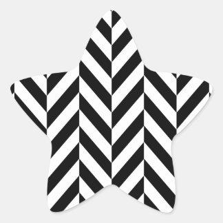 シンプルな白黒のヘリンボンパターン 星シール