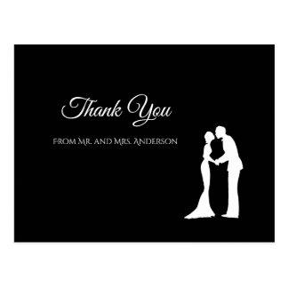 シンプルな白黒エレガントな結婚式は感謝していしています ポストカード