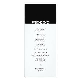 シンプルな白黒結婚式プログラム カード