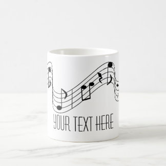 シンプルな白黒音楽は名前をカスタムするに注意します コーヒーマグカップ