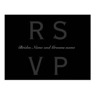 シンプルな白黒RSVP ポストカード