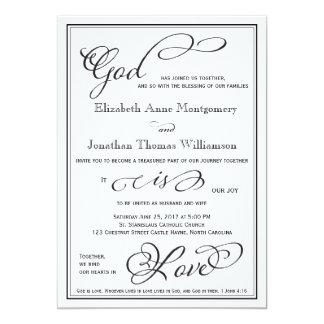 シンプルな神は愛クリスチャンの結婚式招待状です 12.7 X 17.8 インビテーションカード