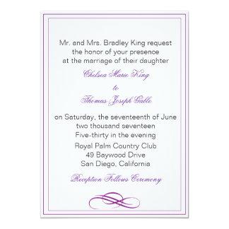 シンプルな紫色の結婚式招待状 12.7 X 17.8 インビテーションカード