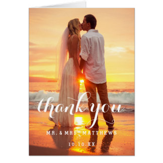 シンプルな結婚式の写真のサンキューカード カード