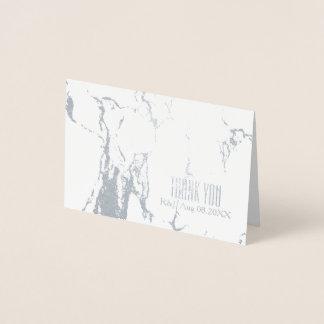 シンプルな結婚式の白い大理石は感謝していしています 箔カード