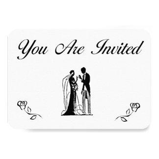 シンプルな結婚式招待状 8.9 X 12.7 インビテーションカード