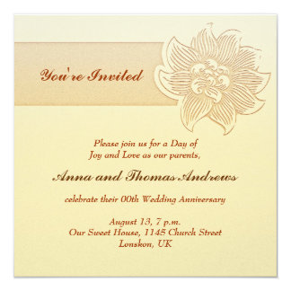 シンプルな結婚記念日の招待 13.3 スクエアインビテーションカード
