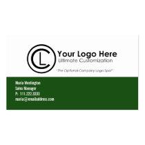 シンプルな緑のロゴの名刺