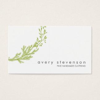 シンプルな緑の手描きのリースの自然の白1 名刺