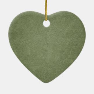 シンプルな緑の花のハート セラミックオーナメント