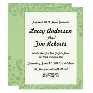 シンプルな緑の花の結婚式招待状 カード