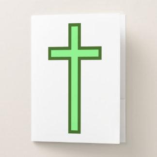 シンプルな緑キリスト教の十字 ポケットフォルダー